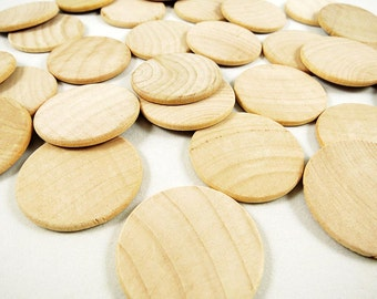 25 Wood Circles, Wooden Discs - 1 1/2 inch x 1/8 inch Unfinished Wooden Disks for DIY