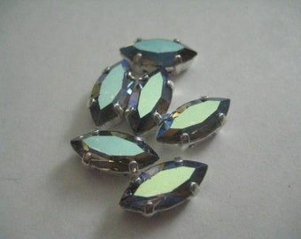Lot of 4 15x7mm Starlight Article 300 Navette Shaped Swarovski Rhinestones in Silver Plated  Brass Settings for Soldering