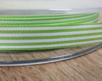 3 metres Celery Green and White Striped Ribbon