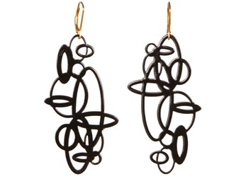 Black Circle Pop-Out Earrings