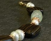 Freshwater Pearl, Aventurine and Old Palm Wood Bracelet