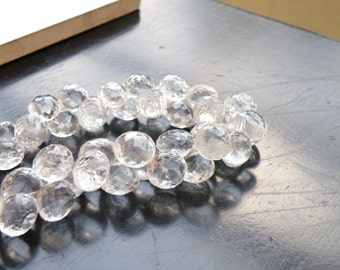 Rock Crystal Quartz Gemstone Briolette Faceted Onion 7.5mm Full Strand 46 beads
