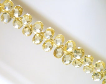 Lemon Yellow Cubic Zirconia CZ Faceted Pear Briolette Top drilled 6mm 43 beads