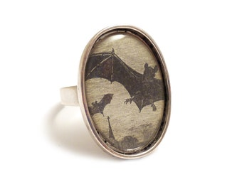 Vampire bats ring silver adjustable Halloween horror Dracula gothic goth