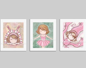 Nursery art prints, baby girl nursery decor, nursery print, girls room decor, kids wall art, blonde, set, 3 prints