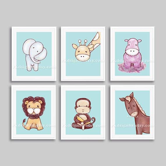 Elephant art, baby nursery art print, jungle animals, children decor, children wall art, boy baby shower gifts, blue set, 6 prints