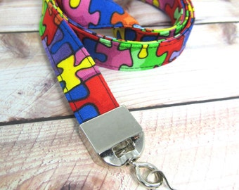 Fabric Lanyard ID Badge Holder - Gift Wrapped, Great Teacher Gift - Autism Awareness