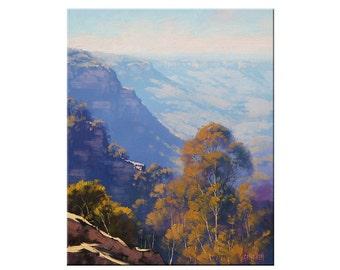 Blue Mountains Painting LANDSCAPE PAINTING Original Oil  by G.Gercken Award winning Artist