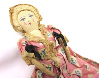Vintage Hand Made Doll - Colonial Style Woman in Pink Floral Dress