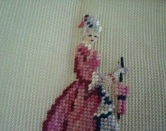 Vintage Needlepoint Victorian Woman