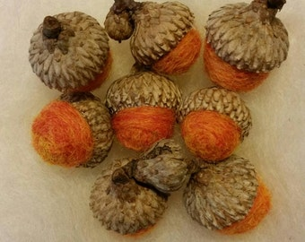 Wool Felted Acorns Wool Roving Marbled Orange Rustic Home Decor