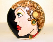 Flat  Round Ceramic Vase Woman's Faces on Etsy