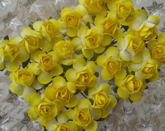Paper Millinery Flowers 24 Small Handmade Roses In Yellow Mix