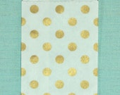 Gold Polka Dot Little Bitty Bags - Set of 20 - Party Favor or Treat Bags