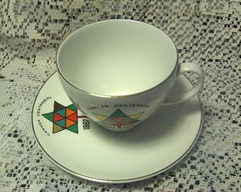 Johnson Brothers Cup and Saucer Canada Centennial  Commemorative 1867 to 1967 Stylized Maple Leaf Pattern Gold Trim