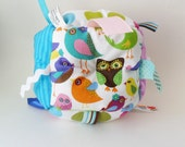Sensory Baby Toy Block - Jumble Ball with ribbon and rattle- Purple & Blue Birds