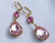Pink Swarovski and Vintage Jewel Earrings