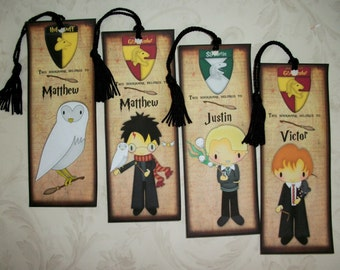 HARRY POTTER Bookmarks - Set of 4 Laminated Bookmarks - Personalized - Made to order - Stocking Stuffers - HP 446