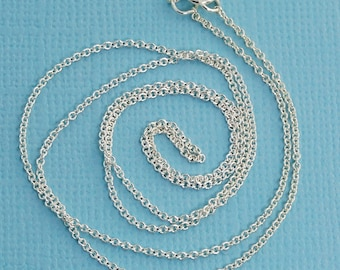 "1.2MM Sterling Silver Rounded Cable Chain Necklace With Springring Clasp 18"" Length (5 Pieces)"