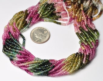 3MM Pink Blue Green Yellow Tourmaline Faceted Rondelle Beads 15.5 inch strand