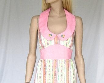 Vintage 70s  Maxi Halter Dress