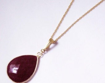 Red Ruby Necklace Genuine Ruby Necklace Enhancer Pendant July Birthstone 14K Gold Bezel Real Ruby Necklace Precious Ruby BZ-ENH-106-Ruby/g