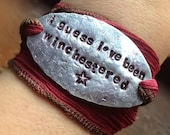 I Guess I've Been Winchestered Supernatural Quote Wrap Bracelet on Ribbon