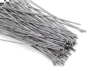 """100 Antique Silver Headpins - 2"""" 22 Gauge Matte Antique Silver Plated Head Pin Findings (FS143)"""