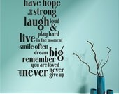 Have Hope Wall Decal Quote - Vinyl Text Sticker Art