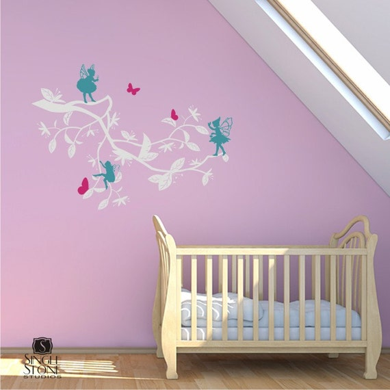 Nursery Wall Decals Enchanted Garden With Fairies - Vinyl Wall Stickers Art