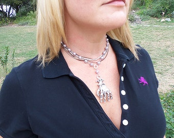 Zombie Princess crystal pearl and chain necklace w/ skeleton hand