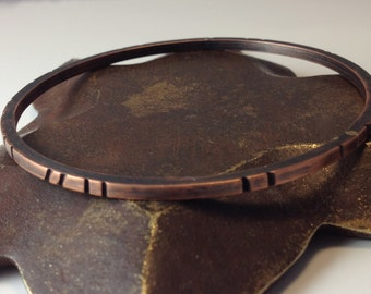 Square Wire Carved Copper Bangle Bracelet Stacking - Made to Order