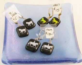 Gold or silver horse dangle earrings - dressage horse - leverback earring - dichroic dressage horse earring  (2827-2828-2829)