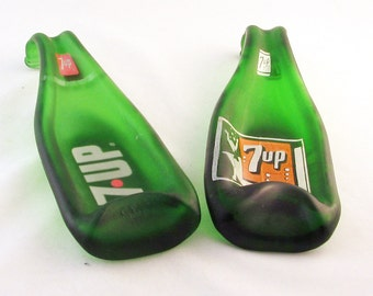Vintage 7 up bottle - Melted bottle spoonrest or dish -  Seven up bottle - vintage Green bottle - upcycled