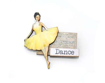 Dance Brooch, Ticket Brooch, Vintage Illustration, Altered Art, Mixed Media, Wood Jewelry