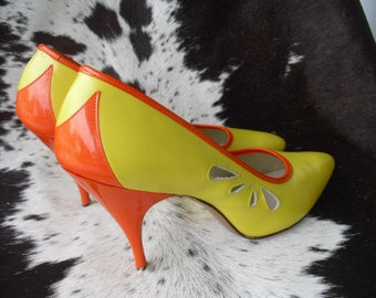 REDUCED SALE RARE 50's Desigher Bellecraft Incredible Leather Stilettos cut outs  Orange and Yellow pumps