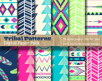 Tribal Patterns Brights Digital Paper Pack Collection (3001)- Personal and Small Commercial Use,