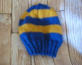TEAM COLORS!!! hand knit teen /adult hat blue and gold