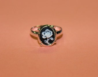 Tiny Black Flower Silver Cameo Ring
