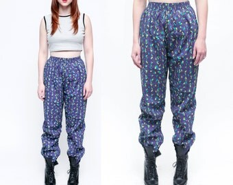 Vintage 80s High Waisted Purple and NEON Abstract Green Polyester Jogger Trousers // High Waist Parachute MC HAMMER Pants