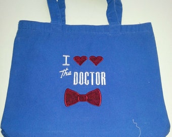 I <3 <3 The Doctor Red Bow Tie Embroidered Canvas Tote Bag Heart Blue Washable DR Who TARDIS BBC British