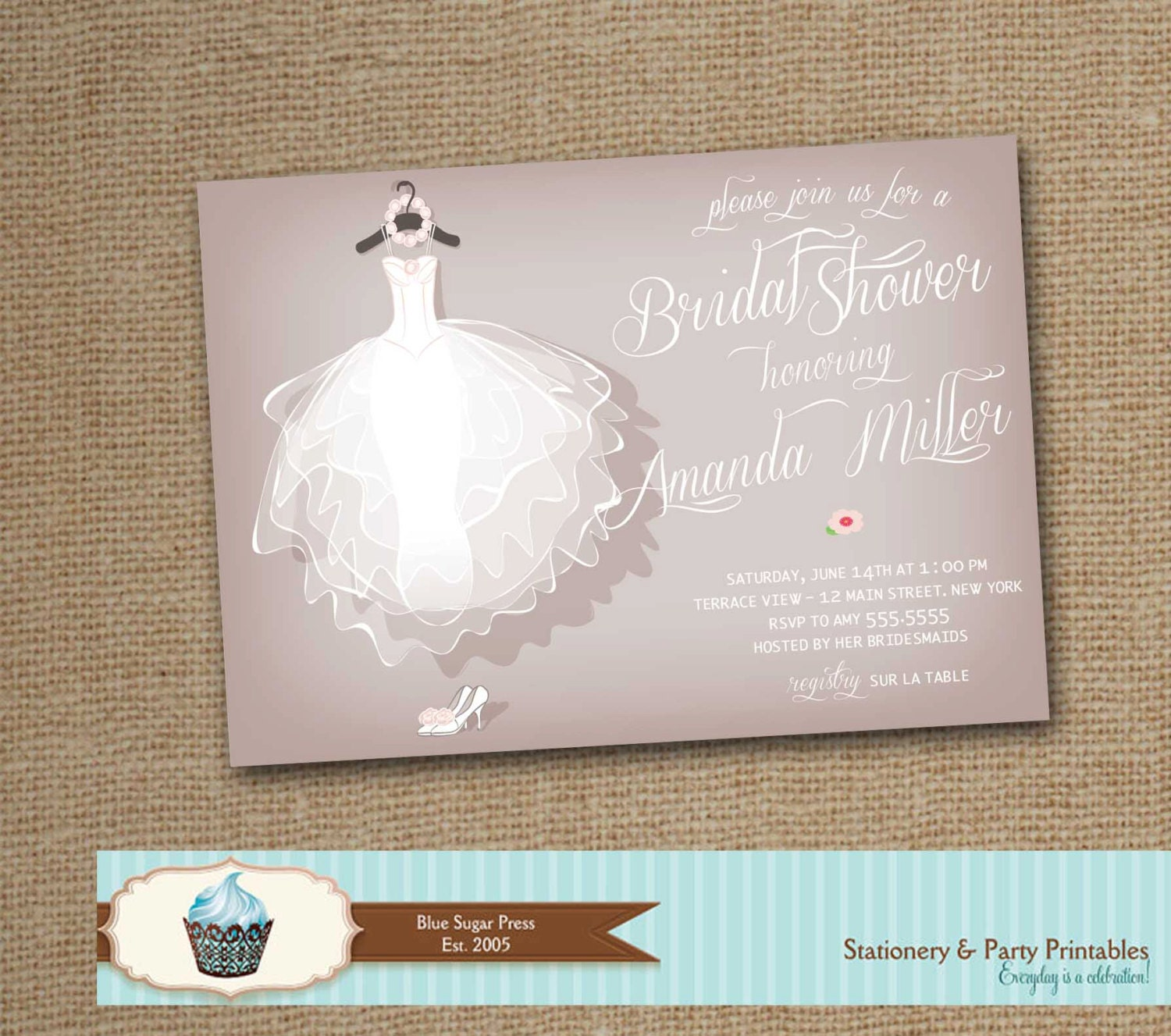 Wedding dress bridal shower invitation bridal shower for Wedding dress bridal shower invitations
