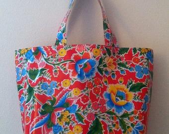 Beth's Big Red Vintage Floral Oilcloth Market Tote Bag
