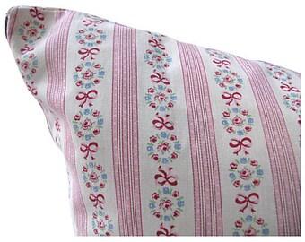Vintage Rosebud Ticking Pillow Pink Ribbons Bed Size 20x26