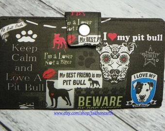Handmade Long Wallet  BiFold Clutch - Vegan Wallet - LOVE A PIT BULL Wallet