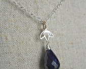 Blue Sapphire Blossom Necklace, Sapphire Necklace, Minimalist, Pendant, Gemstone necklace, Gift Idea