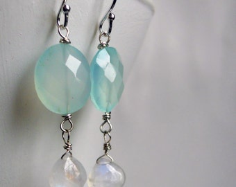 Glimmer Chalcedony and Moonstone Earrings, Moonstone Earrings, Aqua earrings, Chalcedony earrings, blue earrings, drop earrings