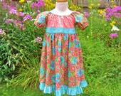 Toddler girl, peasant dress, size 2T, coral flowers, turquoise, twirly skirt, maxi dress, attached sash, ready to ship, OOAK, party dress,