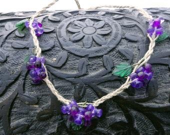 Hemp Necklace Purple Grapes Hemp Necklace
