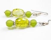Green Yellow Earrings Crackle Silver tone Caps Dangle Earrings Green Yellow Glass Beads Retro style